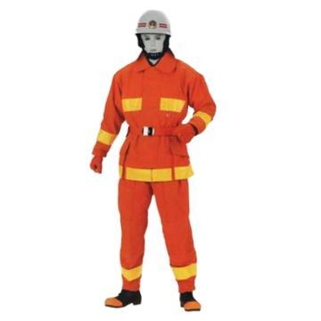美康 消防员灭火训练防护服套装,175~180,MKF-16-橘红色 L(不含3C,不可做正规消防服)