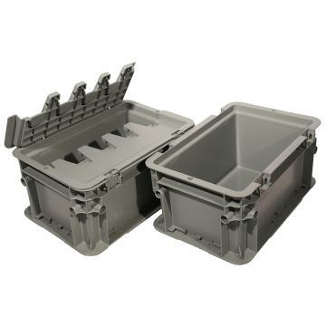 力王 A型第二代周轉箱,PK-A2(帶蓋),外尺寸:300×200×148mm,灰色