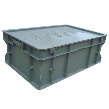 力王 F型第二代周轉箱,PK-F2(帶蓋),外尺寸:600×400×220mm,灰色