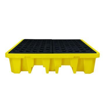 西斯貝爾SYSBEL 聚乙烯四桶盛漏托盤,適用于叉車,四向操作,1310×1320×310mm,SPP104-2