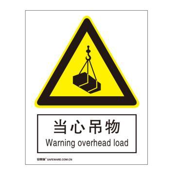 安賽瑞 國標標識-當心吊物,不干膠材質,250×315mm,30720