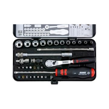 伍尔特1/4 英寸套筒扳手品种,带防尘棘轮,34 件 套筒扳手-SET-1/4IN-EXHEX-34PCS,0965014340