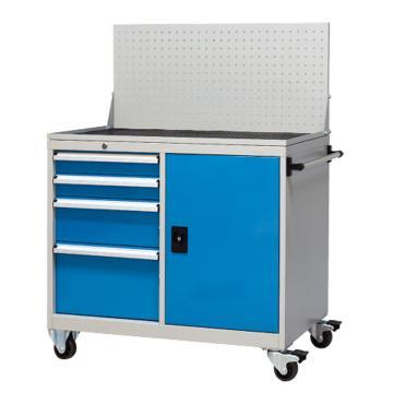 固定式工具柜,(四个抽屉+门柜+挂板)蓝色,带滚轮