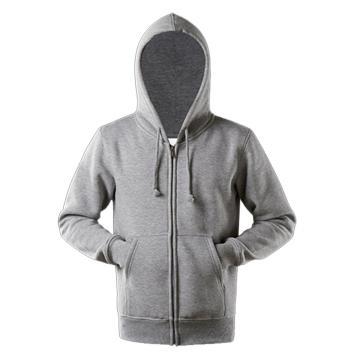 西域推荐 带帽拉链卫衣,涤棉,麻灰色,XS(同系列10件起订)