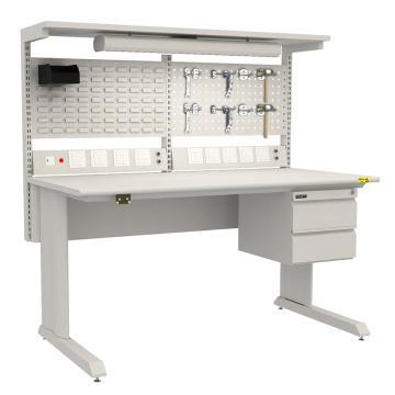 佰斯特 防靜電固定式工作臺,(含雙抽/料盒/電源線盒)1530×750×760,PST-GD-23,不含安裝費