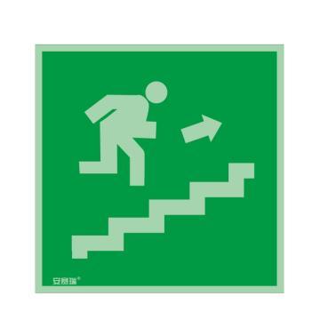 安赛瑞 IMO安全标识-紧急楼梯 上,自发光不干胶,150×150mm,20268