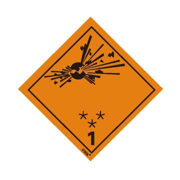 安賽瑞 危險品標識-爆炸性物質或物品 1, 高性能不干膠,100mm×100mm,32000,20張/包