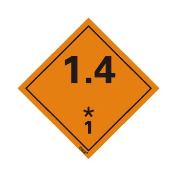 安賽瑞 危險品標識-1.4 爆炸性物質或物品 1, 高性能不干膠,100mm×100mm,32001,20張/包