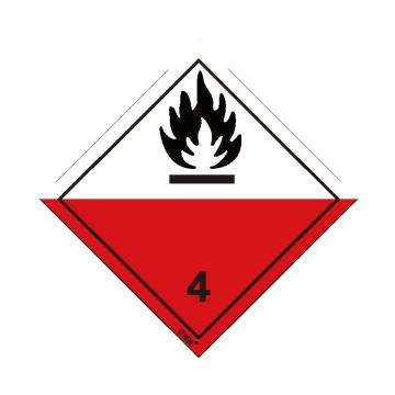 安賽瑞 危險品標識-易于自燃的物質 4 , 高性能不干膠,100mm×100mm,32007,20張/包
