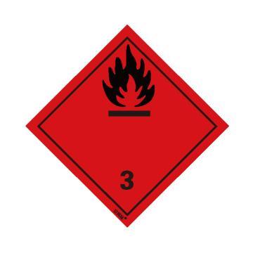 安賽瑞 危險品標識-易燃液體 3 , 高性能不干膠,100mm×100mm,32005,20張/包