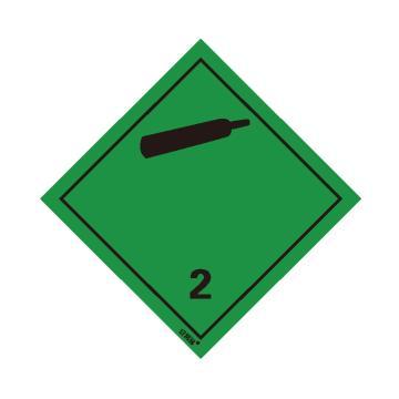 安賽瑞 危險品標識-非易燃無毒氣體 2 , 高性能不干膠,100mm×100mm,32003,20張/包