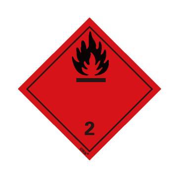 安賽瑞 危險品標識-易燃氣體 2 , 高性能不干膠,100mm×100mm,32002,20張/包