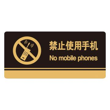 安赛瑞 亚克力标识牌-禁止使用手机,3M背胶,260×120mm,35244