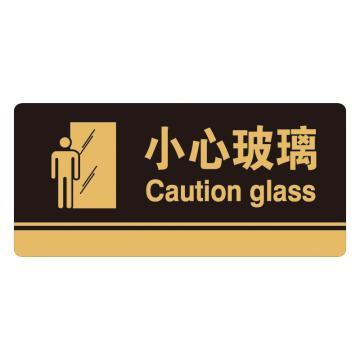 安赛瑞 亚克力标识牌-小心玻璃,3M背胶,260×120mm,35254