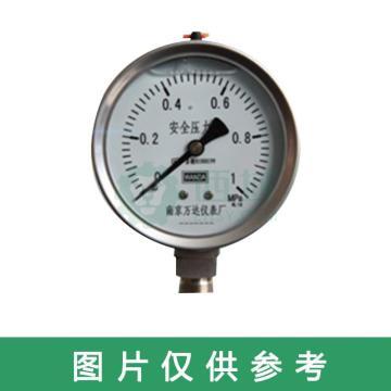 万达/WANDA 压力表YJ,碳钢+铜,径向不带边Φ100,精度1.6级,0~4.0MPa,G1/2