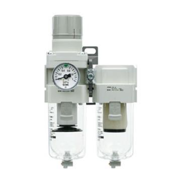 SMC 二聯件,過濾減壓閥+油霧分離器,AC40D-04D-V-A