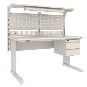 佰斯特 防靜電固定式工作臺,(含雙抽/電源線盒/上擋板/燈)1530×750×760,PST-GD-19,不含安裝費