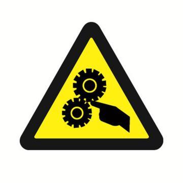 安赛瑞 GB安全警示标签-当心机械伤人,边长50mm ,32612,10片/包