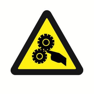 安赛瑞 GB安全警示标签-当心机械伤人,边长100mm,32812,10片/包