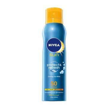 妮維雅(NIVEA)冰爽透明防曬氣霧,SPF50+ 200ml(防曬噴霧 戶外 男女護膚適用)