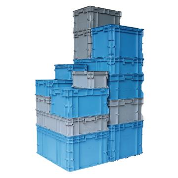 力王 F型第二代周转箱,PK-F2(带盖),外尺寸:600×400×220mm,蓝色
