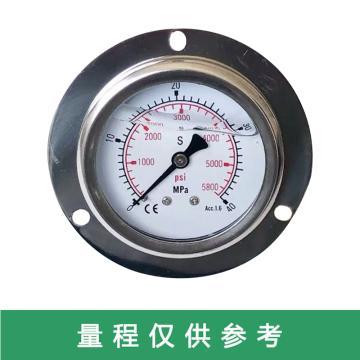 沈阳热工 带边耐震压力表,YN-100 1.6级Φ100 0-40MPa双刻度轴向