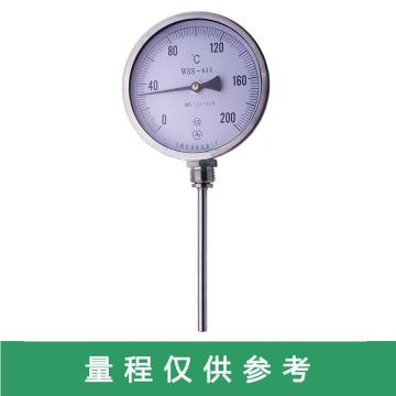 上仪 双金属温度计WSS-411 温度0-150 L=100 带扣直接拧上 拧的扣部位的口径要20的