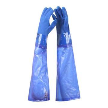 羿科 PVC接袖手套,蓝色,69cm,PVC60