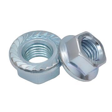 DIN6923六角法兰螺母,M3-0.5,4级,蓝白锌,8000支/盒