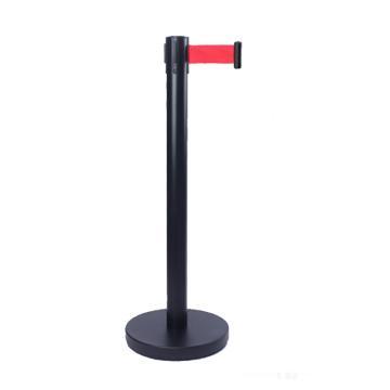 警士盾 黑色烤漆伸缩带隔离栏-底盘Ф310mm,高900mm,立杆Ф63mm,带长3m,织带红色,(陶氏Logo)
