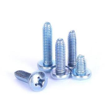 GB6560十字盘头三角牙机螺钉,M6-1.0X8,蓝白锌,1000支/袋