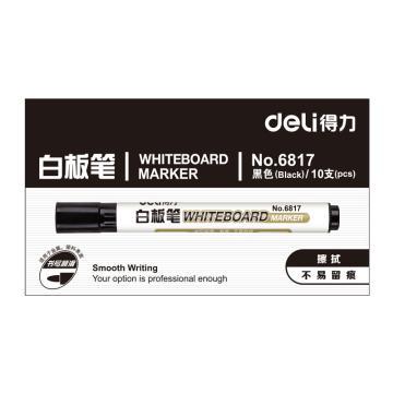 得力 白板笔,6817黑,10支/盒 单位:盒 (替代:RAM753)