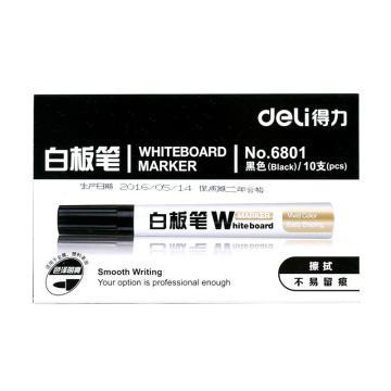 得力 白板笔,6801(黑色),10支/盒 单位:盒 (替代:MCY185)