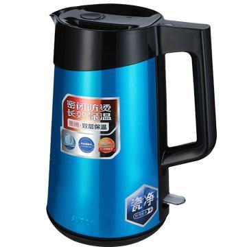 蘇泊爾電水壺熱水壺,1.7L全鋼無縫雙層防燙電熱水壺 304不銹鋼燒水壺 SWF17S10A