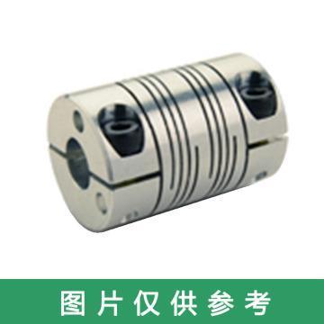 """Ruland FSR-紧定螺钉式螺旋切缝弹性联轴器 ,一端英制一端公制, 铝合金,FSR16-11MM-1/4""""-A"""