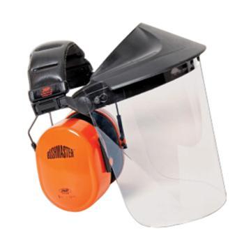 洁适比JSP 面屏耳罩组合,02-3600,EF头戴式PC透明面屏灰色支架组合及SNR:30db耳罩