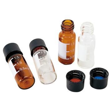 亚速旺ASONE标准螺口进样瓶(8-425) 白胶红膜 黑顶空盖 (100只/盒)