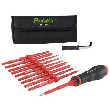 宝工Pro'sKit 可调式绝缘扭力螺丝刀,12件套 ,SD-T860