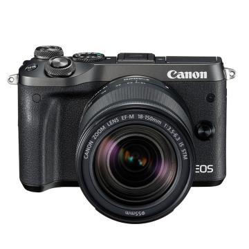 佳能Canon 数码微单相机,半画幅专微(约2420万像数)EOS M6(18-150) 黑 白 银