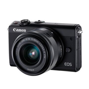 佳能Canon 数码微单相机,半画幅专微(约2420万像数)EOS M100 (15-45)黑 白 灰