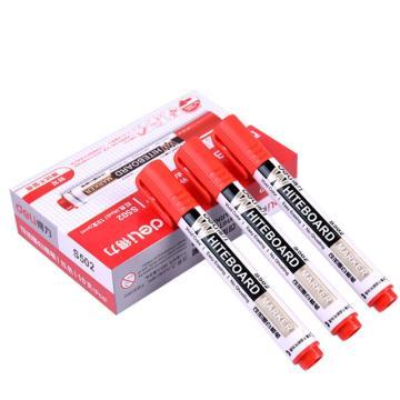 得力 可加墨白板筆,S502 紅,10支/盒 單位:盒 (替代:RAM765)