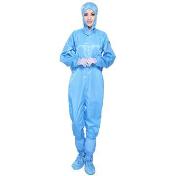 凌致0.5条纹防静电连帽连体服,蓝色 LZ01001-1,S码 同型号系列起订量10套