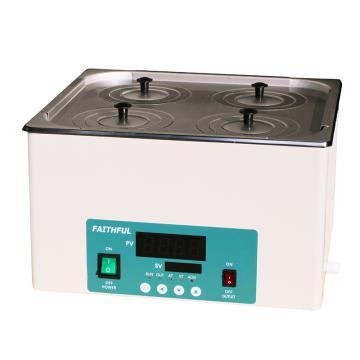 菲斯福 电热恒温水浴锅,RT+5~100℃,容积/内尺寸(宽深高mm):14.6L/325×300×150,DK-2000-IIIL(双列四孔)