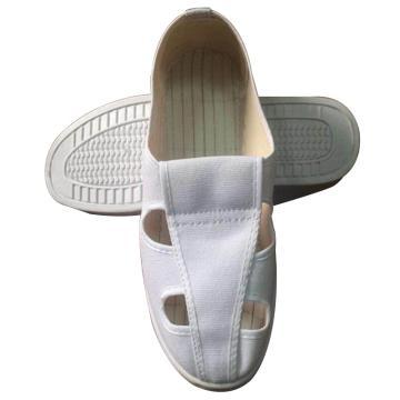 凌致防静电白色帆布四孔鞋 PVC底,LZ02010-1,35 同型号系列起订量10双
