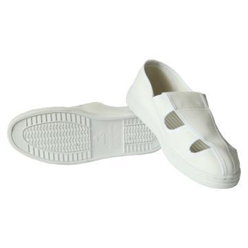 凌致防靜電白色皮革四孔鞋 PVC底,LZ02010-2,36 同型號系列起訂量10雙