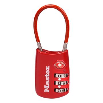 瑪斯特鎖MasterLock 20mm寬,3位可調密碼鎖,帶柔性纜,紅色,4688MCNRED