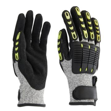 B&Z 防震手套,6305-10,麻灰色手套灰色涂层