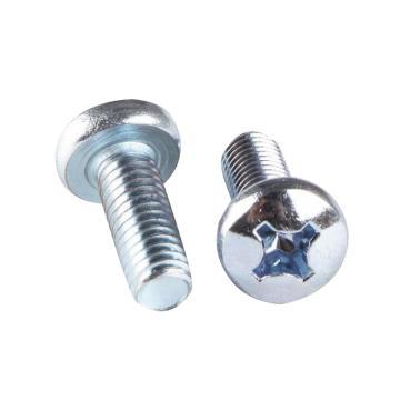 GB818十字槽盤頭機螺釘,M6-1.0X10,碳鋼/藍白鋅,200個/包