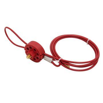 安赛瑞 轮式缆绳锁具,Φ4mm×2m,尼龙锁体,红色,37041