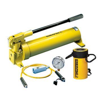 恩派克ENERPAC 单作用液压缸套装,50ton,51mm,RC-502(含油缸+手动泵+软管+压力表+表座)